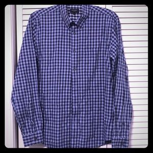 Mens Oxford blue-checkered long sleeve button down
